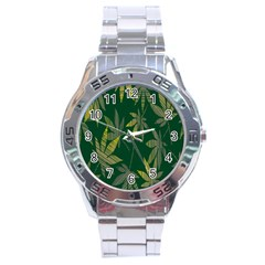 Marijuana Cannabis Rainbow Love Green Yellow Leaf Stainless Steel Analogue Watch by Mariart