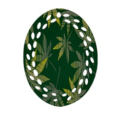 Marijuana Cannabis Rainbow Love Green Yellow Leaf Oval Filigree Ornament (two Sides) by Mariart