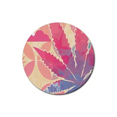 Marijuana Heart Cannabis Rainbow Pink Cloud Rubber Coaster (round)  by Mariart