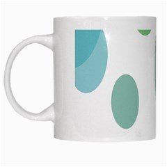 Polka Dots Blue Green White White Mugs by Mariart