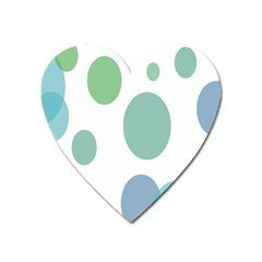 Polka Dots Blue Green White Heart Magnet by Mariart