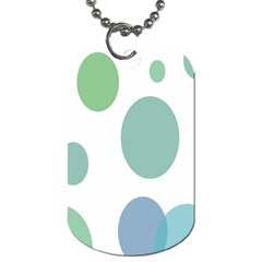 Polka Dots Blue Green White Dog Tag (one Side) by Mariart