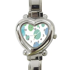 Polka Dots Blue Green White Heart Italian Charm Watch by Mariart