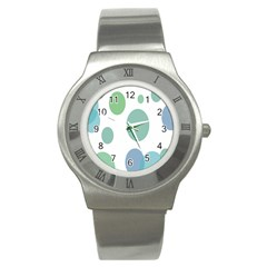 Polka Dots Blue Green White Stainless Steel Watch by Mariart