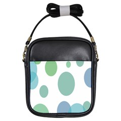 Polka Dots Blue Green White Girls Sling Bags by Mariart