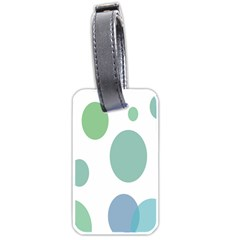 Polka Dots Blue Green White Luggage Tags (two Sides) by Mariart
