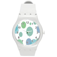 Polka Dots Blue Green White Round Plastic Sport Watch (m) by Mariart