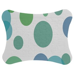 Polka Dots Blue Green White Jigsaw Puzzle Photo Stand (bow)
