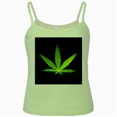 Marijuana Weed Drugs Neon Green Black Light Green Spaghetti Tank