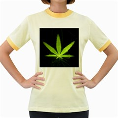 Marijuana Weed Drugs Neon Green Black Light Women s Fitted Ringer T Shirts