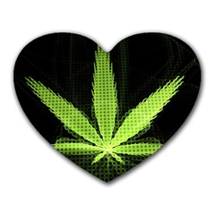 Marijuana Weed Drugs Neon Green Black Light Heart Mousepads by Mariart
