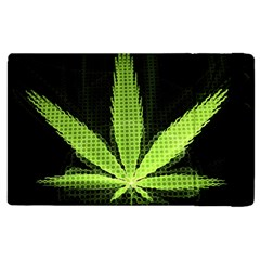 Marijuana Weed Drugs Neon Green Black Light Apple Ipad 3/4 Flip Case by Mariart