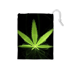 Marijuana Weed Drugs Neon Green Black Light Drawstring Pouches (medium)  by Mariart