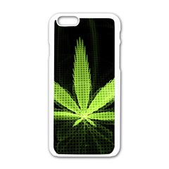 Marijuana Weed Drugs Neon Green Black Light Apple Iphone 6/6s White Enamel Case by Mariart