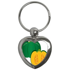 Pumpkin Peppers Green Yellow Key Chains (heart)  by Mariart