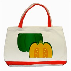 Pumpkin Peppers Green Yellow Classic Tote Bag (red) by Mariart