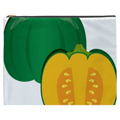 Pumpkin Peppers Green Yellow Cosmetic Bag (xxxl)  by Mariart