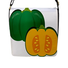 Pumpkin Peppers Green Yellow Flap Messenger Bag (l)  by Mariart
