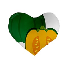 Pumpkin Peppers Green Yellow Standard 16  Premium Flano Heart Shape Cushions by Mariart