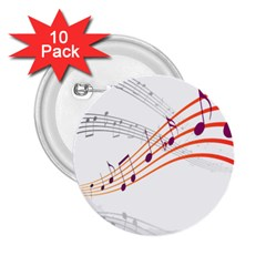 Musical Net Purpel Orange Note 2 25  Buttons (10 Pack)