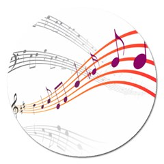 Musical Net Purpel Orange Note Magnet 5  (round) by Mariart