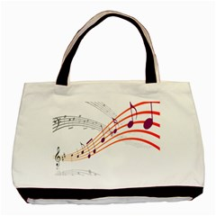 Musical Net Purpel Orange Note Basic Tote Bag by Mariart
