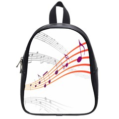 Musical Net Purpel Orange Note School Bag (small) by Mariart