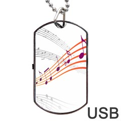Musical Net Purpel Orange Note Dog Tag Usb Flash (one Side) by Mariart