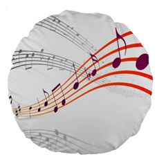 Musical Net Purpel Orange Note Large 18  Premium Round Cushions by Mariart