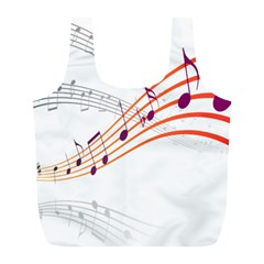 Musical Net Purpel Orange Note Full Print Recycle Bags (l)  by Mariart