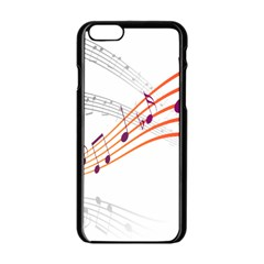 Musical Net Purpel Orange Note Apple Iphone 6/6s Black Enamel Case by Mariart