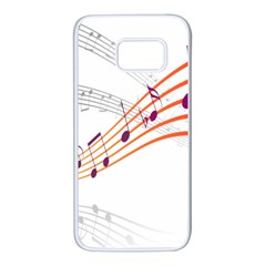 Musical Net Purpel Orange Note Samsung Galaxy S7 White Seamless Case by Mariart