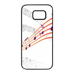 Musical Net Purpel Orange Note Samsung Galaxy S7 Edge Black Seamless Case by Mariart