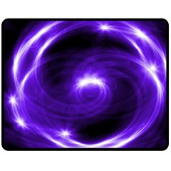 Purple Black Star Neon Light Space Galaxy Fleece Blanket (medium)  by Mariart