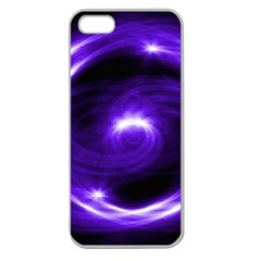 Purple Black Star Neon Light Space Galaxy Apple Seamless Iphone 5 Case (clear)