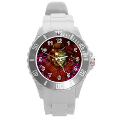 Wonderful Venetian Mask With Floral Elements Round Plastic Sport Watch (l) by FantasyWorld7