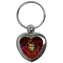 Wonderful Venetian Mask With Floral Elements Key Chains (heart)  by FantasyWorld7