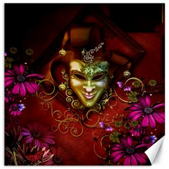 Wonderful Venetian Mask With Floral Elements Canvas 16  X 16   by FantasyWorld7