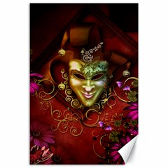 Wonderful Venetian Mask With Floral Elements Canvas 24  X 36  by FantasyWorld7
