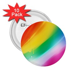 Red Yellow White Pink Green Blue Rainbow Color Mix 2 25  Buttons (10 Pack)