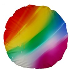 Red Yellow White Pink Green Blue Rainbow Color Mix Large 18  Premium Flano Round Cushions