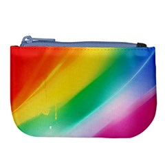 Red Yellow White Pink Green Blue Rainbow Color Mix Large Coin Purse