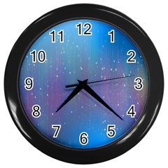 Rain Star Planet Galaxy Blue Sky Purple Blue Wall Clocks (black)