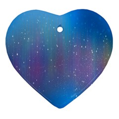 Rain Star Planet Galaxy Blue Sky Purple Blue Heart Ornament (two Sides) by Mariart