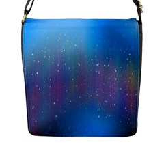 Rain Star Planet Galaxy Blue Sky Purple Blue Flap Messenger Bag (l)