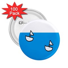 Ship Sea Beack Sun Blue Sky White Water 2 25  Buttons (100 Pack)  by Mariart