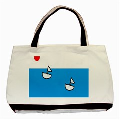 Ship Sea Beack Sun Blue Sky White Water Basic Tote Bag (two Sides) by Mariart