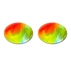 Red Yellow Green Blue Rainbow Color Mix Cufflinks (oval)
