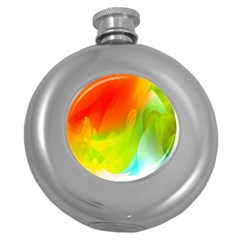 Red Yellow Green Blue Rainbow Color Mix Round Hip Flask (5 Oz)