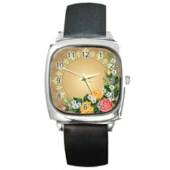 Rose Sunflower Star Floral Flower Frame Green Leaf Square Metal Watch by Mariart